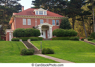 Mansion on a hill - Old officers mansion in Park Presidio,...
