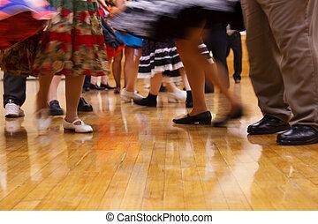 Dancing people - Legs of fast moving people on a dancefloor....