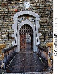 viejo, castillo, puerta, puente levadizo
