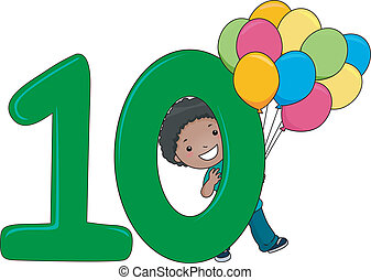 Number Kid 10 - Illustration of a Kid Holding Balloons