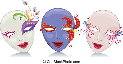 Mardi Gras - Illustration Featuring Mardi Gras Masks