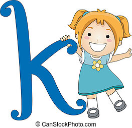 Letter Kid K - Illustration of a Kid Standing Beside a...