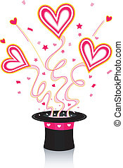 Heart Hat - Illustration of Colorful Hearts Coming Out of a...