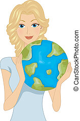 Earth Day - Illustration of a Woman Celebrating Earth Day