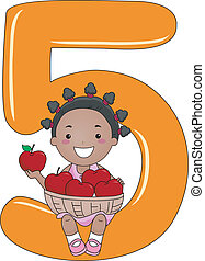 Number Kid 5 - Illustration of a Kid Holding a Basket of...