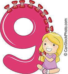 Number Kid 9 - Illustration of a Kid with a Collection of...