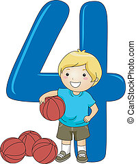 Number Kid 4 - Illustration of a Kid Holding a Ball