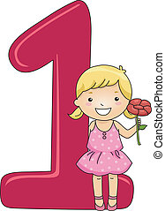 Number Kid 1 - Illustration of a Kid Holding a Flower