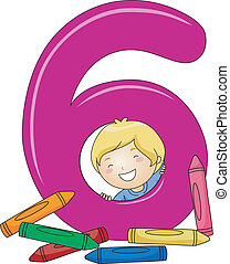 Number Kid 6 - Illustration of a Kid Checking Out Crayons