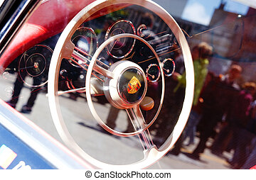 Porsche 356 - 1957 Classic Car - Inside a classic car with a...