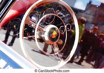 Porsche 356 - 1957 Classic Car - Inside a classic car with a...