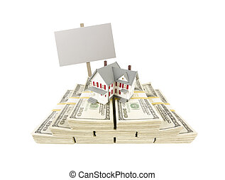 Small House on Stacks of Hundred Dollar Bills and Blank Sign