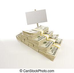 pilhas, um, cem, dólar, contas, em branco, sinal,...