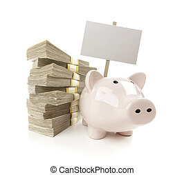 Pink Piggy Bank with Stacks of Money and Blank Sign