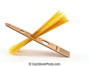 Measurer for spaghetti (Italian Pasta) on white background