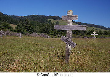 Orthodox cross at a Russian cemetery in Fort Ross Historic State