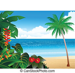 Tropical beach - Vector illustration of tropical beach