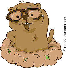 Groundhog Day - Illustration of a Groundhog Wearing Glasses