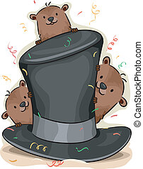 Groundhog Day - Illustration of Groundhogs Peeking From...