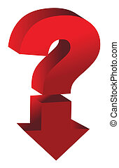 shiny red question mark with an arrow pointing down