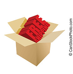 free shipping Carton Box on white background