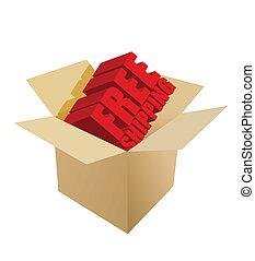 free shipping Carton Box on white