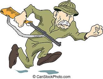 A man with a gun - A hunter with a gun has the prey, vector...