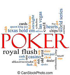 Poker Word Cloud Concept with great terms such as casino,...