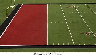 Football Field Red End Zone - A football field with a red...