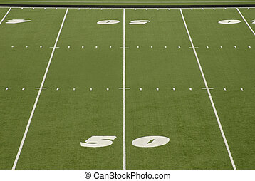 Football Field 50 Yard Line Stadium