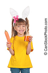 Little girl with bunny ears - Portrait of happy little girl...