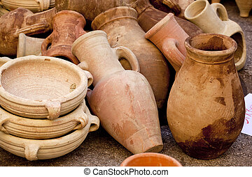 Pitchers and jars of clay ina street market