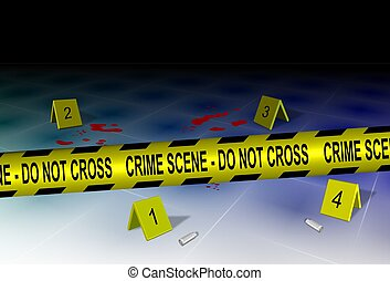 Crime scene and evidence - A yellow police tape spelling...