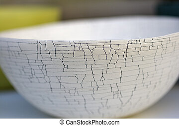 Ceramic cup decorated with crackle - White ceramic cup...