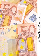 crisis in euro-zone - detail of 50-euro banknotes