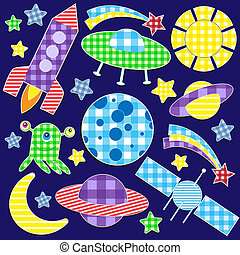 space stickers - Cartoon space stickers.Vector set