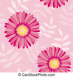 Pink aster seamless floral pattern - Vector background from...