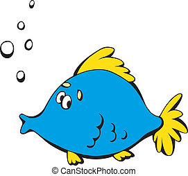 Cartoon blue fish - Cute surprised fish isolated on a white...