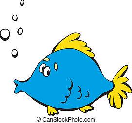 Cartoon blue fish