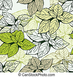 Seamless leaf floral pattern - Background from basil leafs...