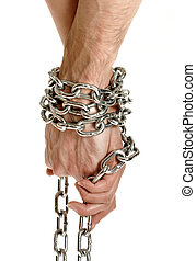 Couple hands chained together - Closeup of couple hands tied...