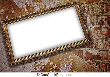 Frame with emty blank on the grunge bricks wall background