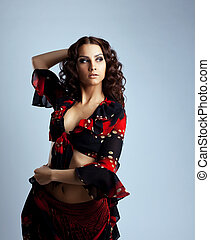 Beauty young woman portrait in gypsy costume - Cute young...
