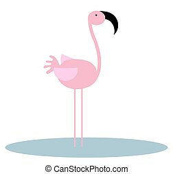 Flamingo - Illustration of an isolated pink Flamingo