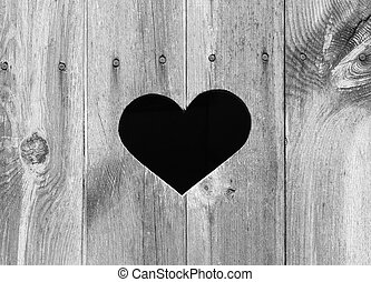 Heart Shape on Wood - Heart shape look out on wooden door to...