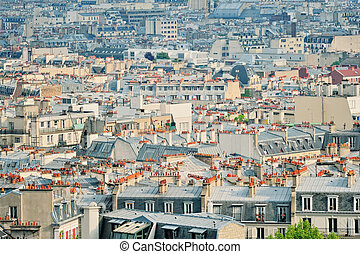 Quarter of Montmartre - Panoramic view residential quarter...