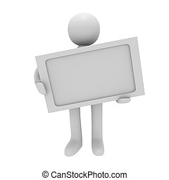 3D man with a blank sign