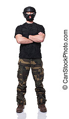 self defence - standing caucasian fighter isolated on white