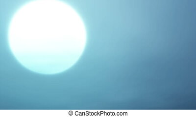Full moon - Peaceful time lapse Moon setting in a plain blue...