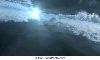 Sun ray - flying through cloudy sky over mountain range